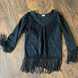 Vintage black fringe long sleeve top M